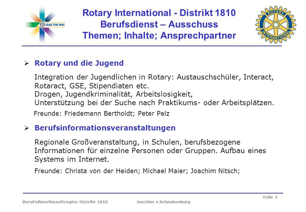 Rotary International - Distrikt 1810 Berufsdienst – Ausschuss Themen; Inhalte; Ansprechpartner