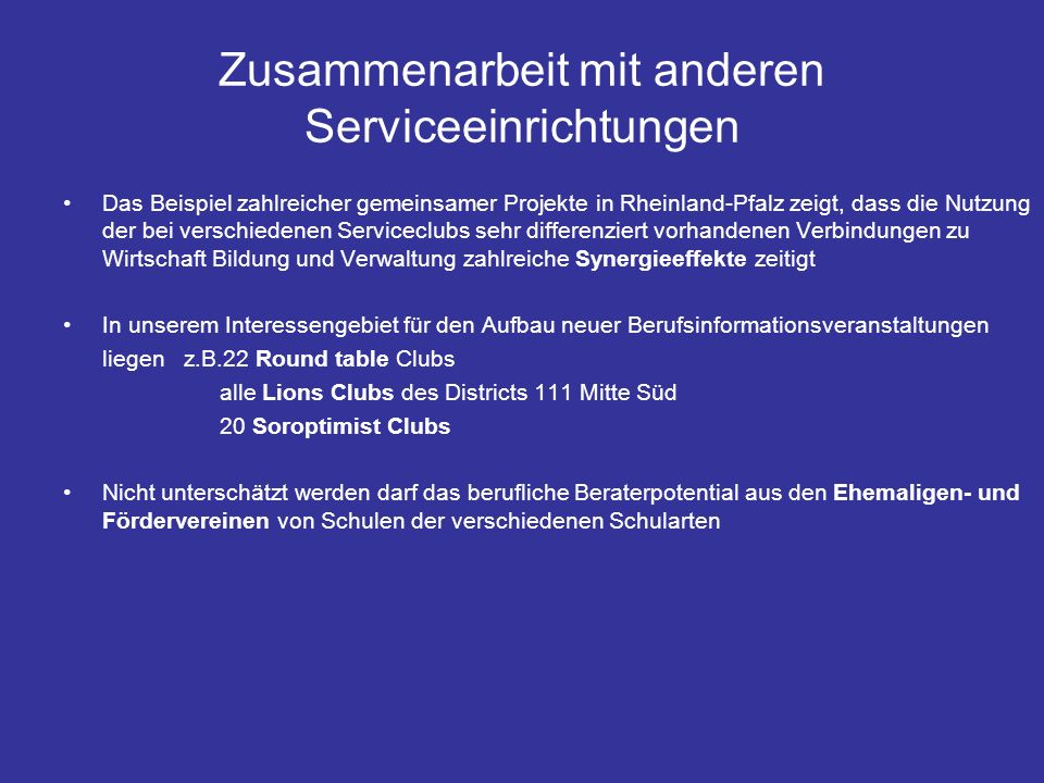 Zusammenarbeit mit anderen Serviceeinrichtungen