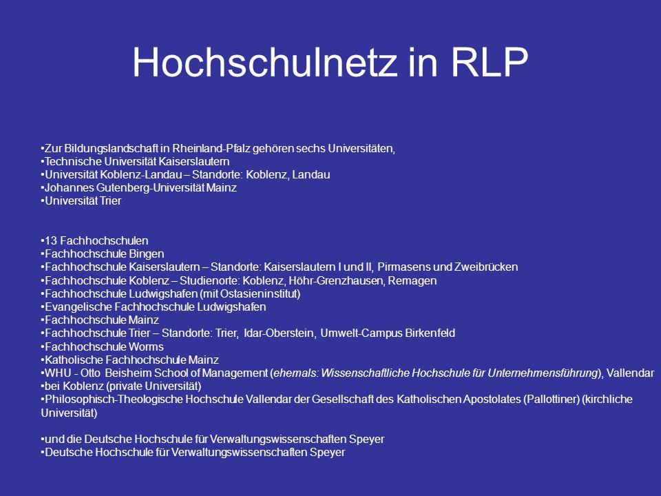 Hochschulnetz in RLP Zur Bildungslandschaft in Rheinland-Pfalz gehören sechs Universitäten, Technische Universität Kaiserslautern.