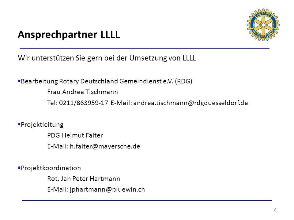 Ansprechpartner LLLLWir unterstützen Sie gern bei der Umsetzung von LLLL. Bearbeitung Rotary Deutschland Gemeindienst e.V. (RDG)
