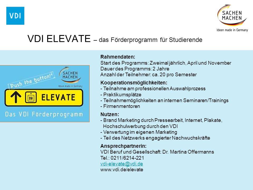 VDI ELEVATE – das Förderprogramm für Studierende