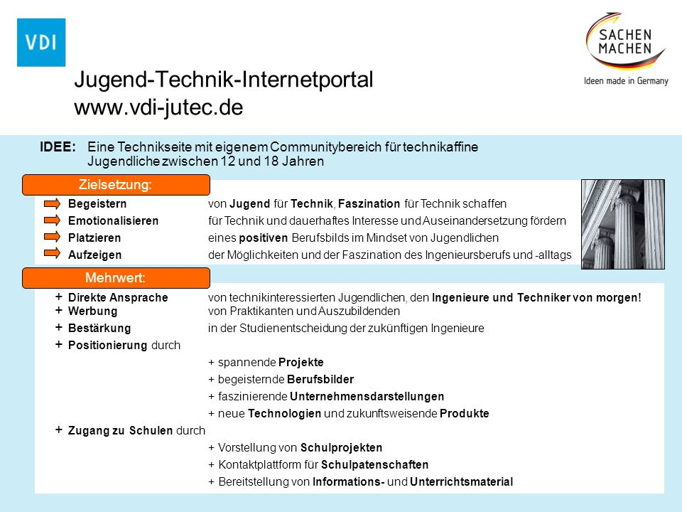Jugend-Technik-Internetportal www.vdi-jutec.de