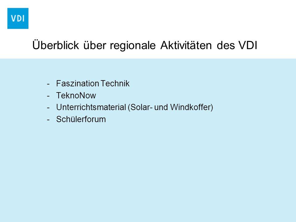 Überblick über regionale Aktivitäten des VDI