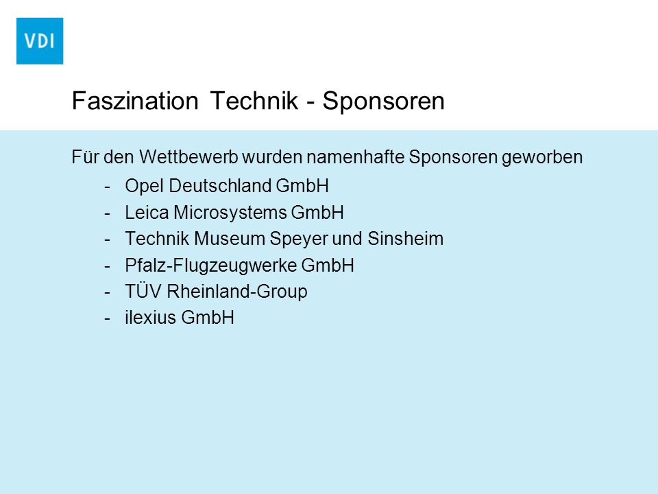 Faszination Technik - Sponsoren