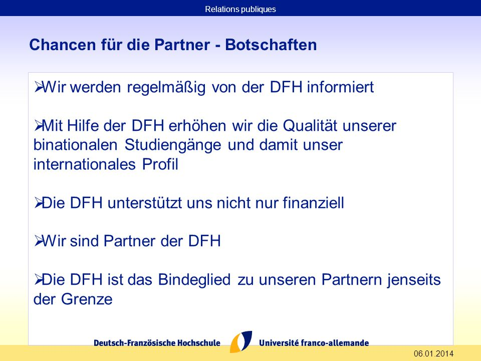 Chancen für die Partner - Botschaften