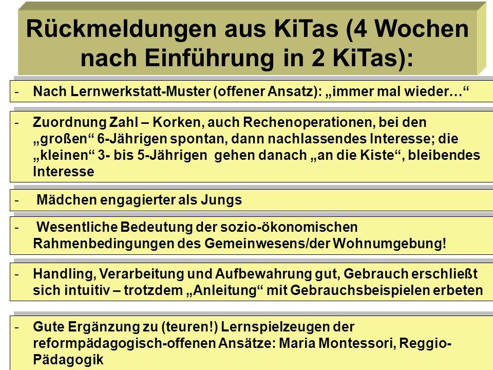 Rückmeldungen aus KiTas (4 Wochen nach Einführung in 2 KiTas):
