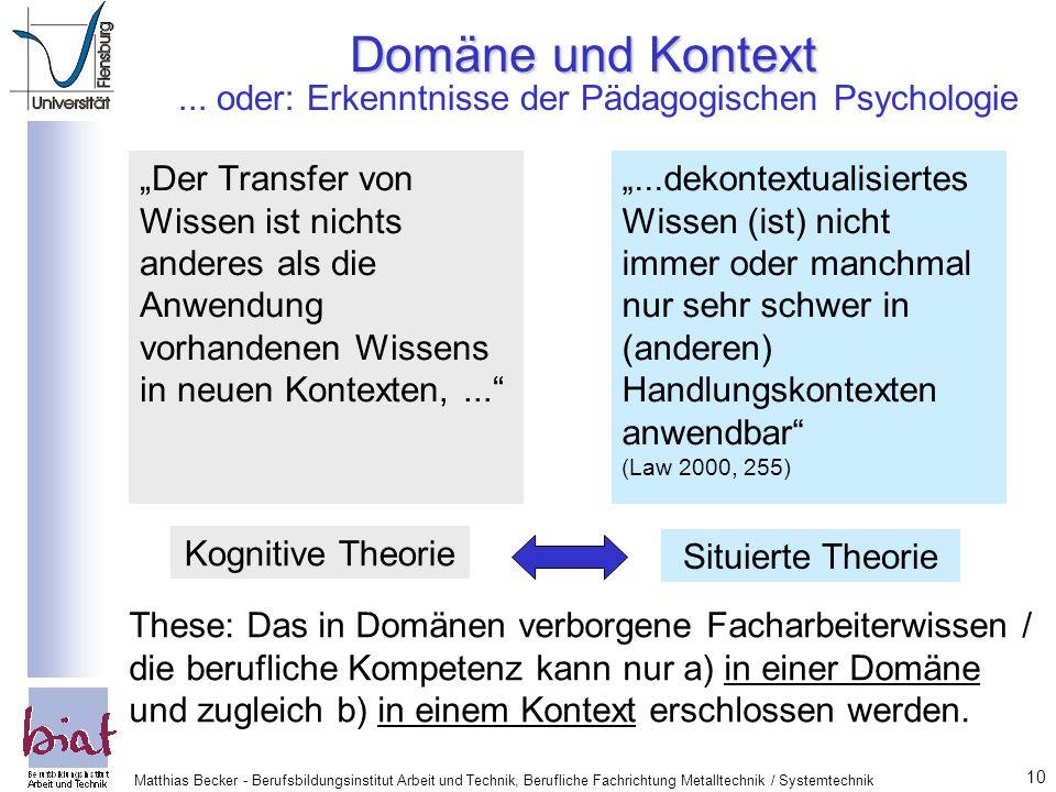 Domäne und Kontext... oder: Erkenntnisse der Pädagogischen Psychologie.