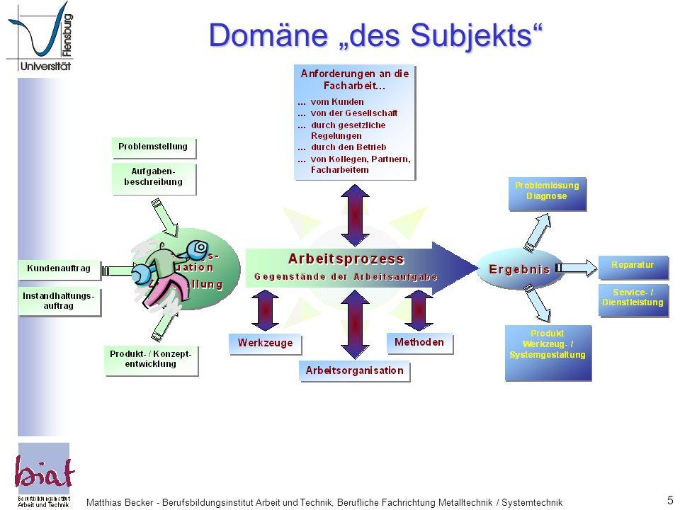 """Domäne """"des Subjekts Matthias Becker - Berufsbildungsinstitut Arbeit und Technik, Berufliche Fachrichtung Metalltechnik / Systemtechnik."""