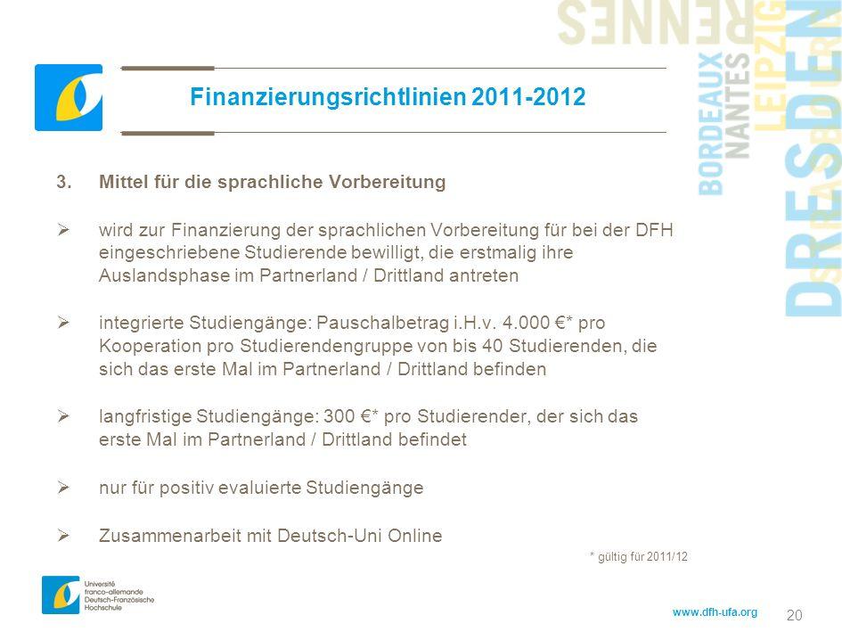 Finanzierungsrichtlinien 2011-2012