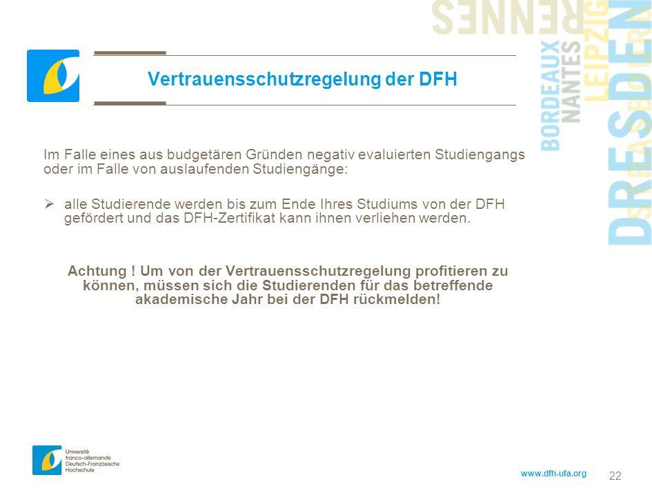 Vertrauensschutzregelung der DFH