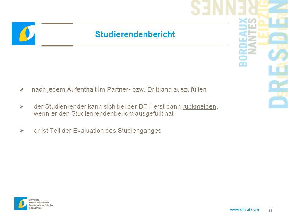 Studierendenberichtnach jedem Aufenthalt im Partner- bzw. Drittland auszufüllen.