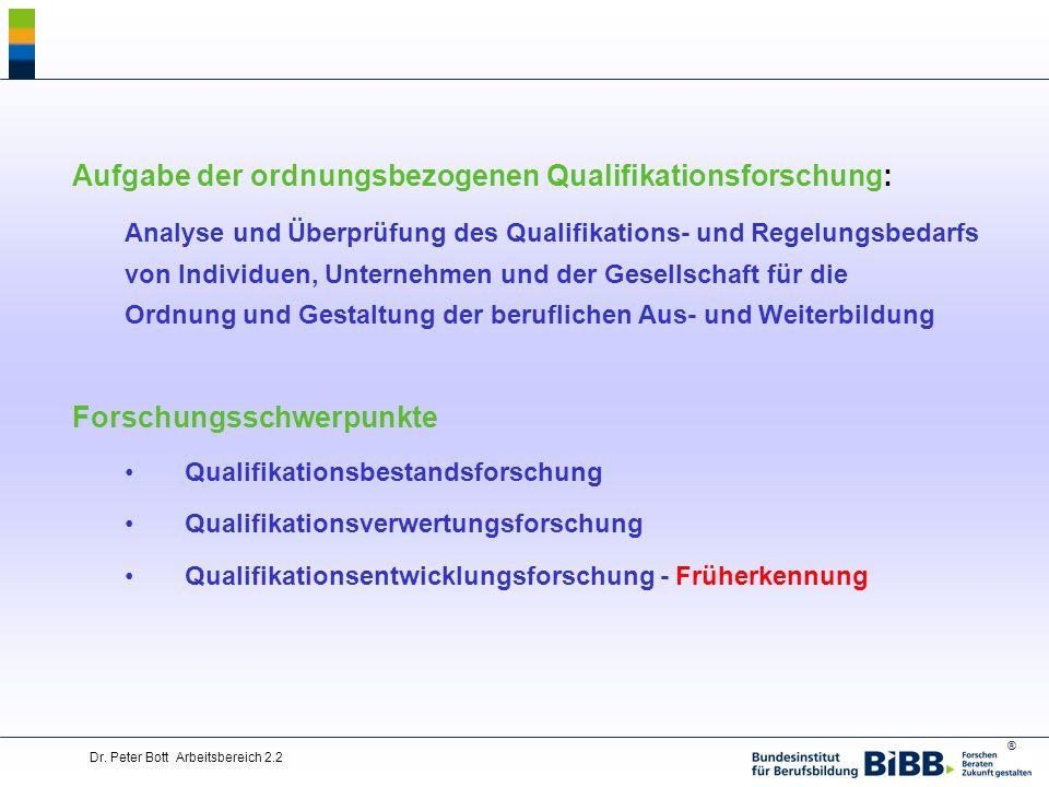 Aufgabe der ordnungsbezogenen Qualifikationsforschung: