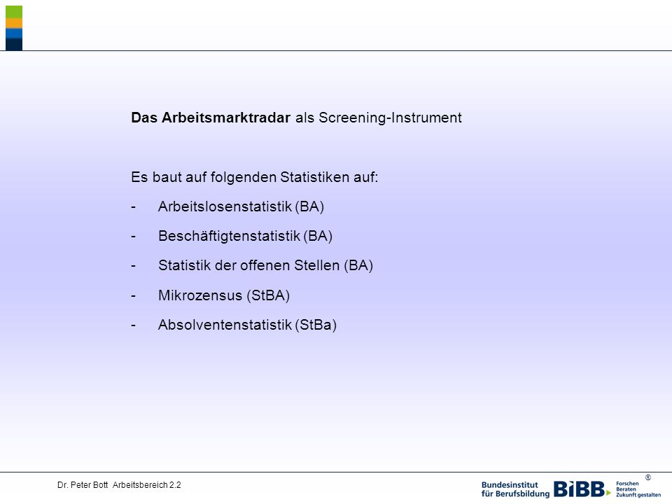 Das Arbeitsmarktradar als Screening-Instrument
