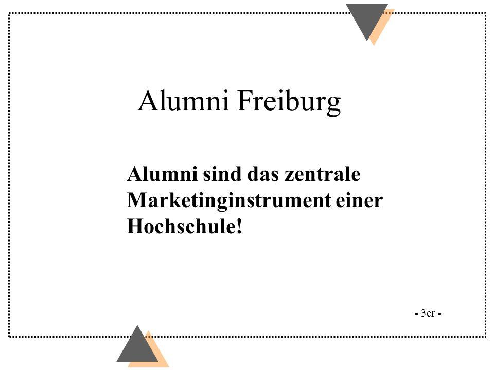 Alumni Freiburg Alumni sind das zentrale Marketinginstrument einer Hochschule! Beispiel Yale: 200 Angestellte.