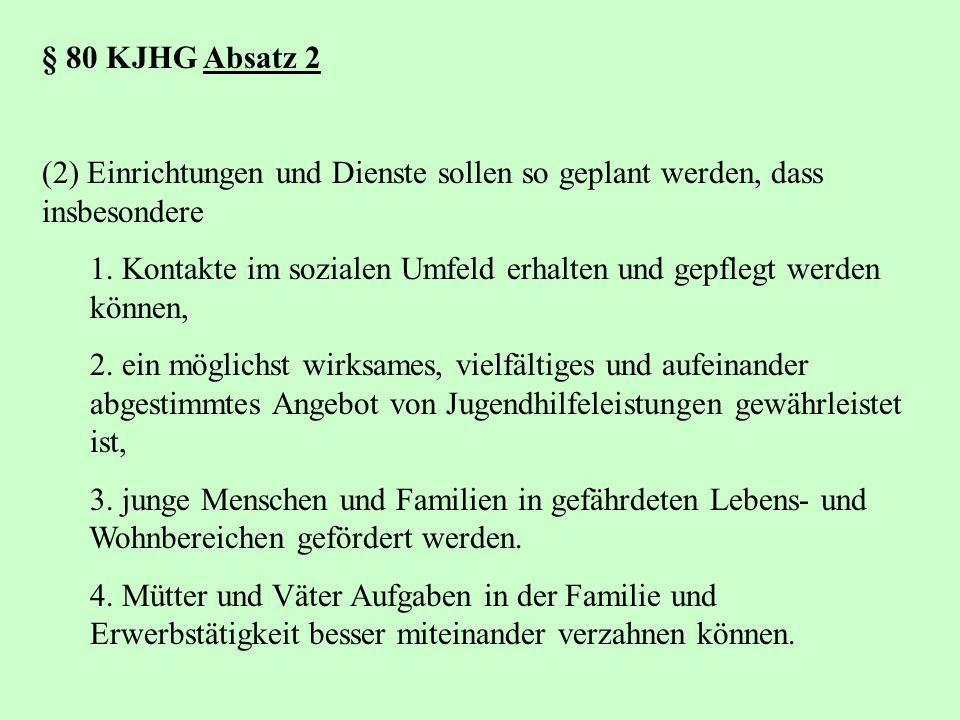 § 80 KJHG Absatz 2 (2) Einrichtungen und Dienste sollen so geplant werden, dass insbesondere.