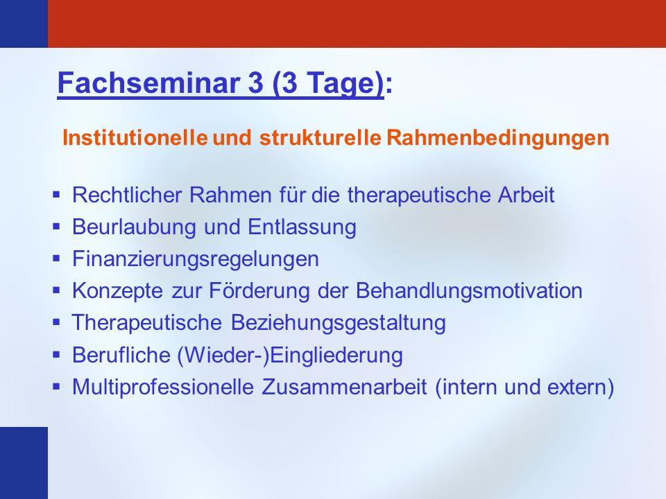 Fachseminar 3 (3 Tage): Institutionelle und strukturelle Rahmenbedingungen. Rechtlicher Rahmen für die therapeutische Arbeit.