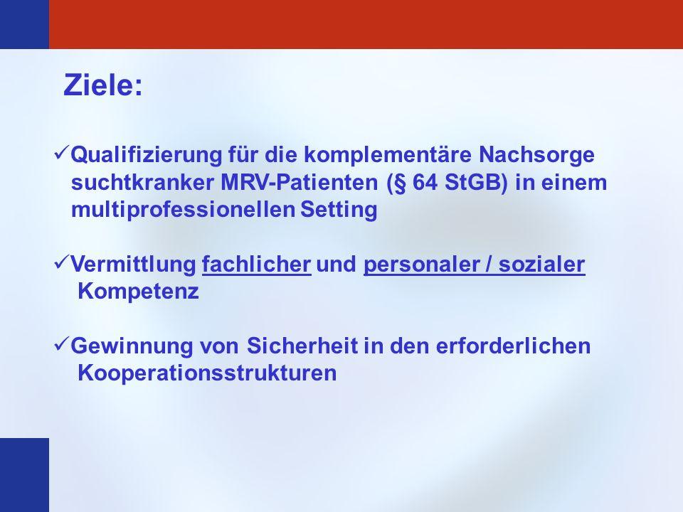 Ziele:Qualifizierung für die komplementäre Nachsorge suchtkranker MRV-Patienten (§ 64 StGB) in einem multiprofessionellen Setting.