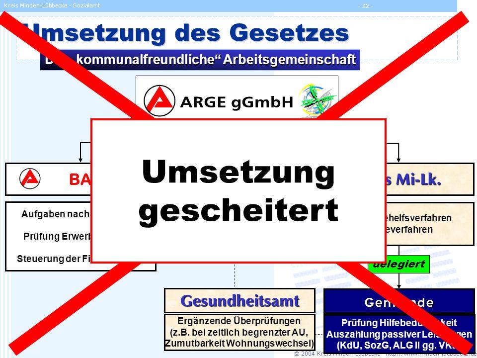 Umsetzung gescheitert Umsetzung des Gesetzes ARGE gGmbH BA proArbeit