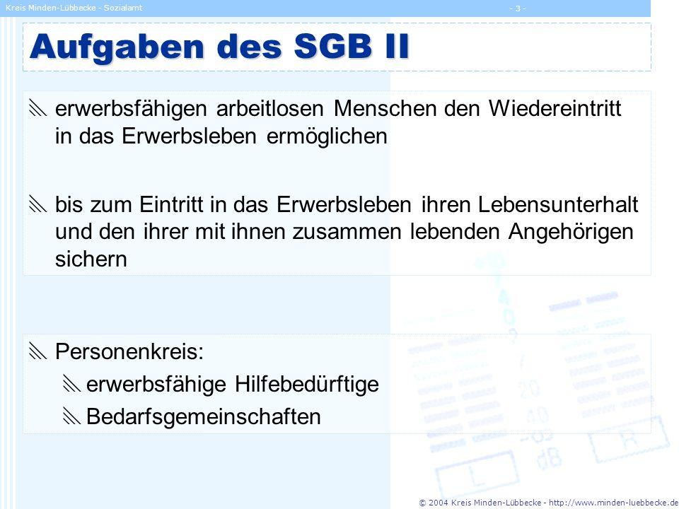 Aufgaben des SGB II erwerbsfähigen arbeitlosen Menschen den Wiedereintritt in das Erwerbsleben ermöglichen.
