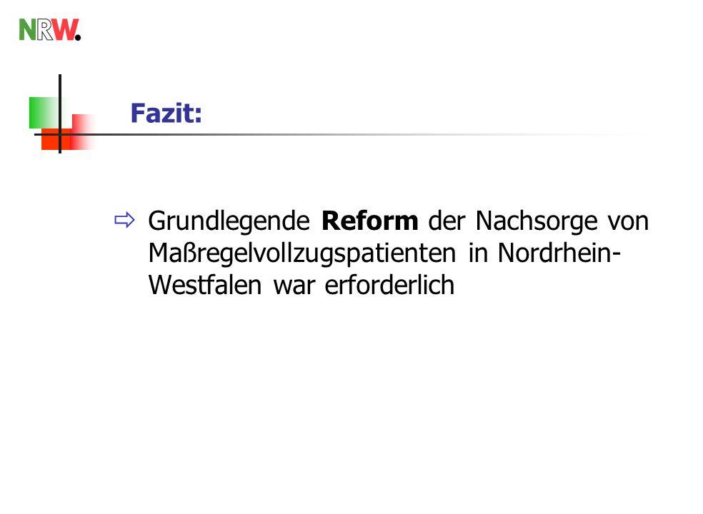 Fazit: Grundlegende Reform der Nachsorge von Maßregelvollzugspatienten in Nordrhein-Westfalen war erforderlich.