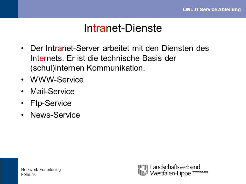 Intranet-Dienste Der Intranet-Server arbeitet mit den Diensten des Internets. Er ist die technische Basis der (schul)internen Kommunikation.