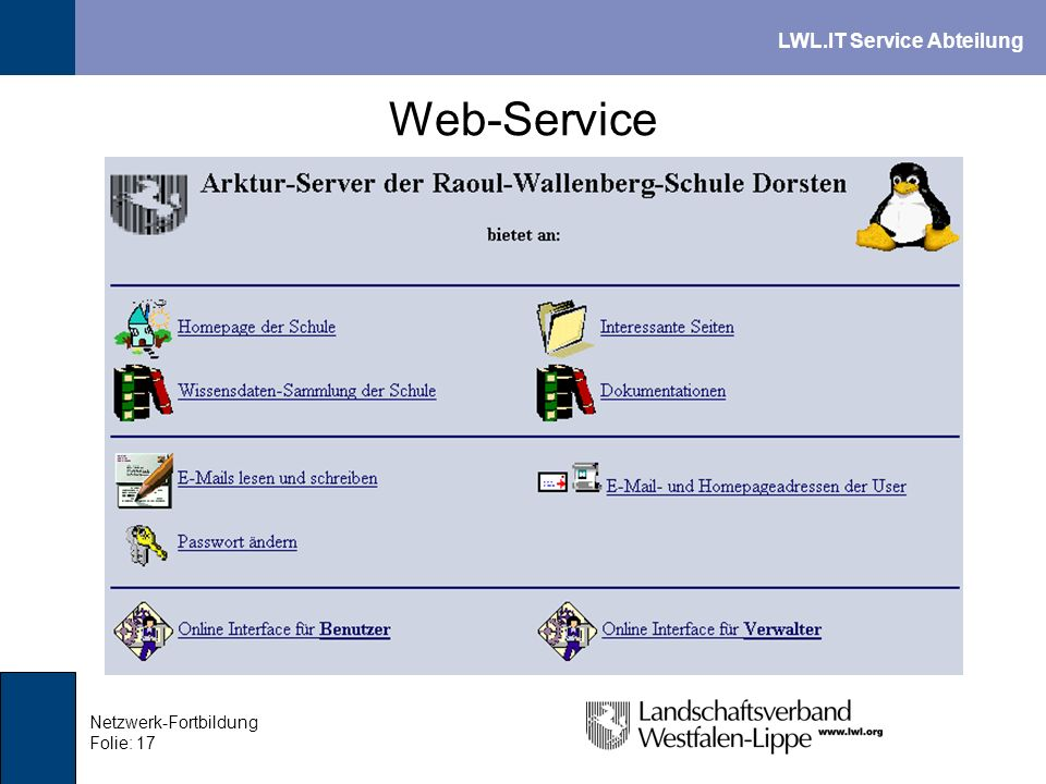 Web-Service Netzwerk-Fortbildung Folie: 17