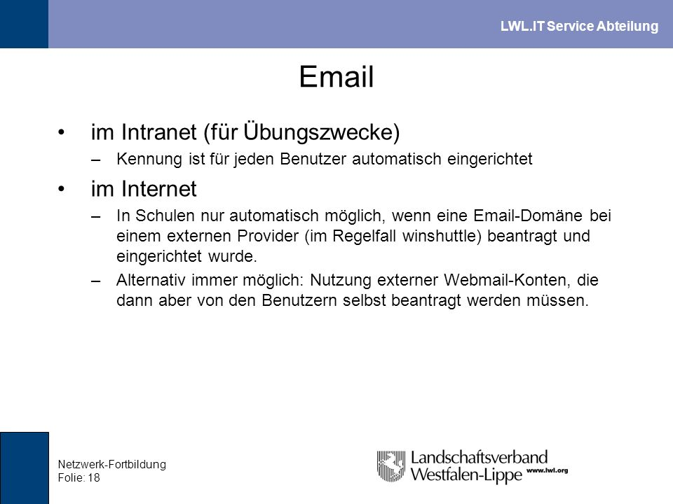 Email im Intranet (für Übungszwecke) im Internet