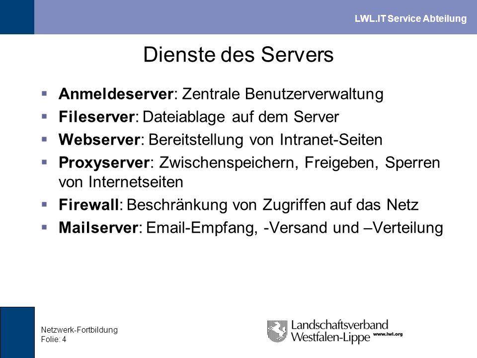 Dienste des Servers Anmeldeserver: Zentrale Benutzerverwaltung