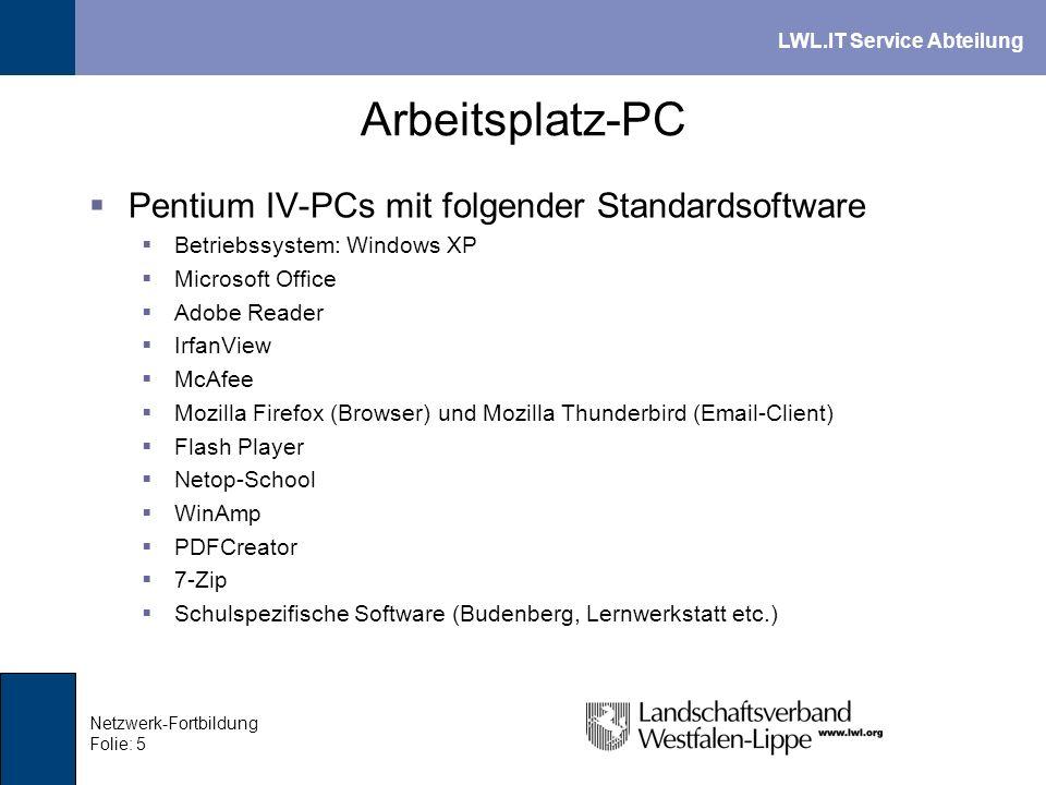 Arbeitsplatz-PC Pentium IV-PCs mit folgender Standardsoftware