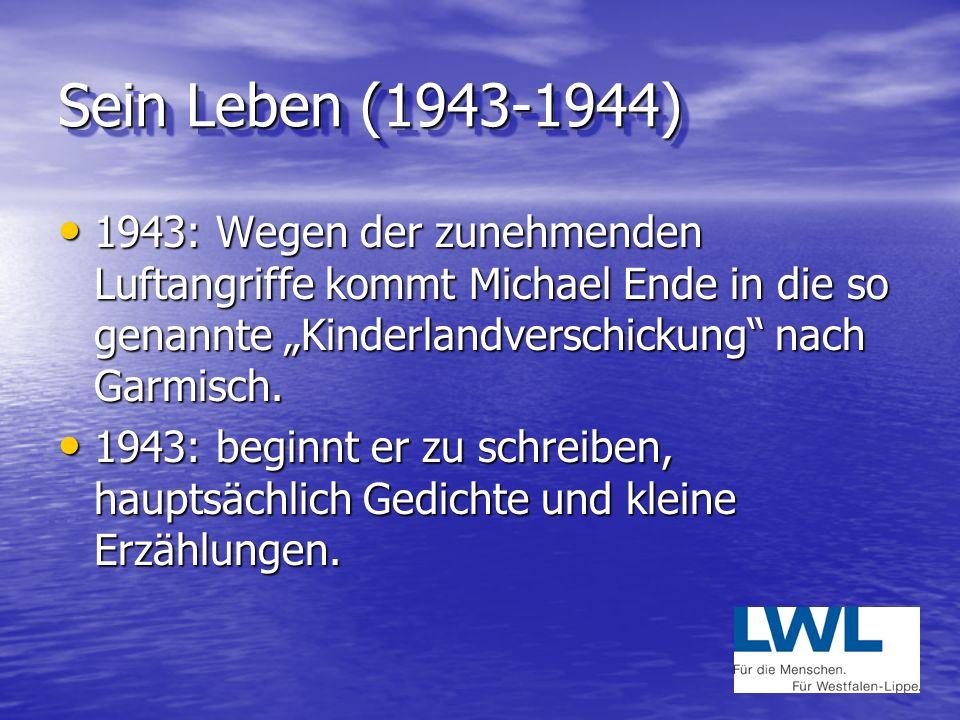 """Sein Leben (1943-1944) 1943: Wegen der zunehmenden Luftangriffe kommt Michael Ende in die so genannte """"Kinderlandverschickung nach Garmisch."""