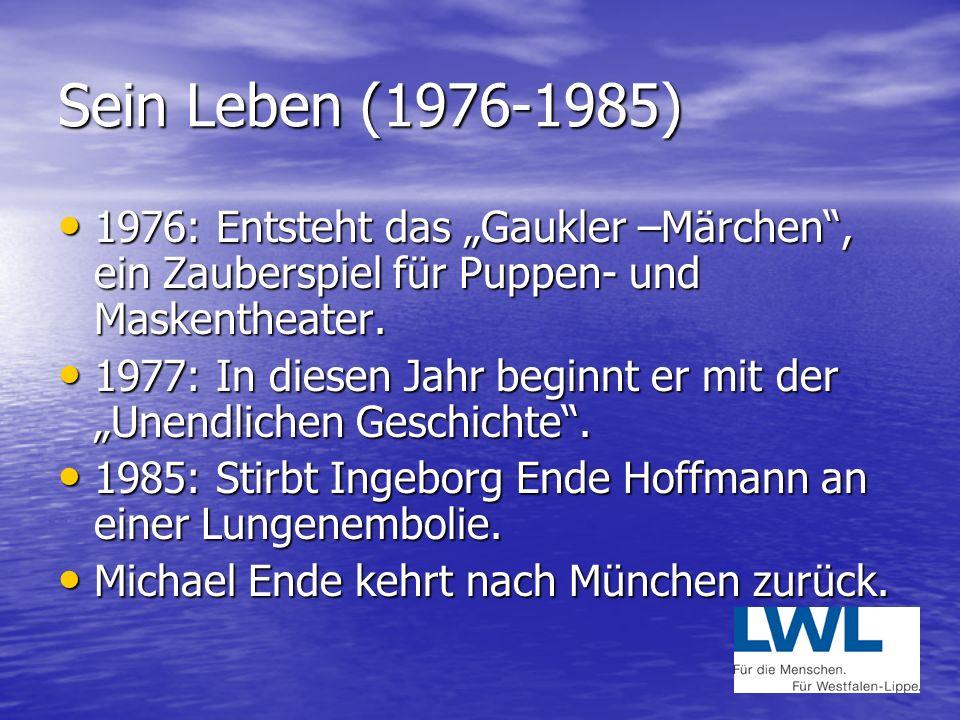"""Sein Leben (1976-1985) 1976: Entsteht das """"Gaukler –Märchen , ein Zauberspiel für Puppen- und Maskentheater."""