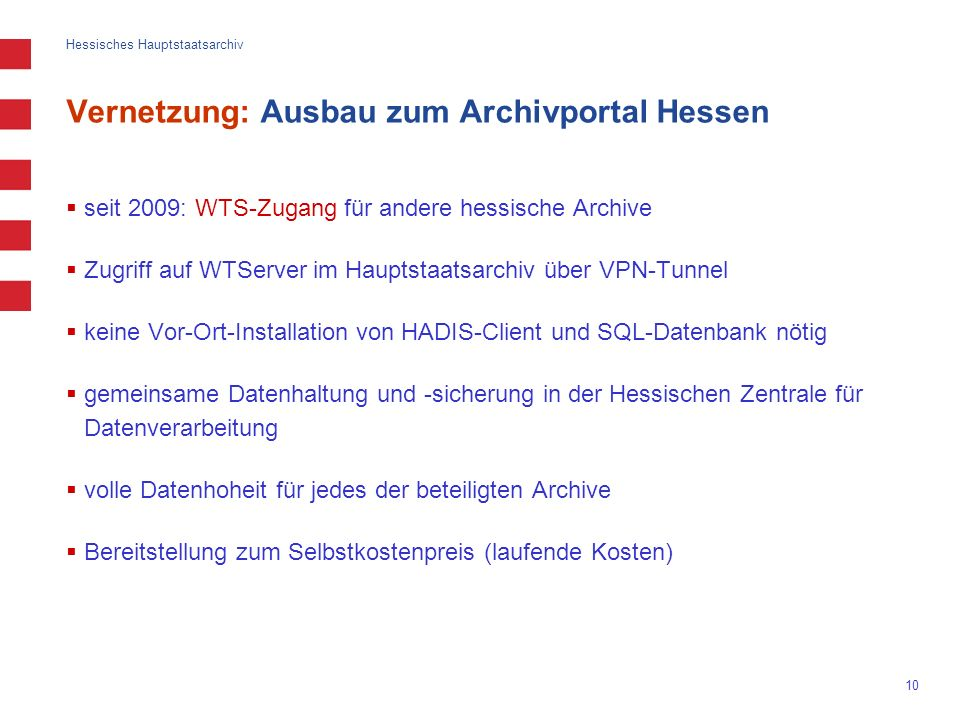 Vernetzung: Ausbau zum Archivportal Hessen