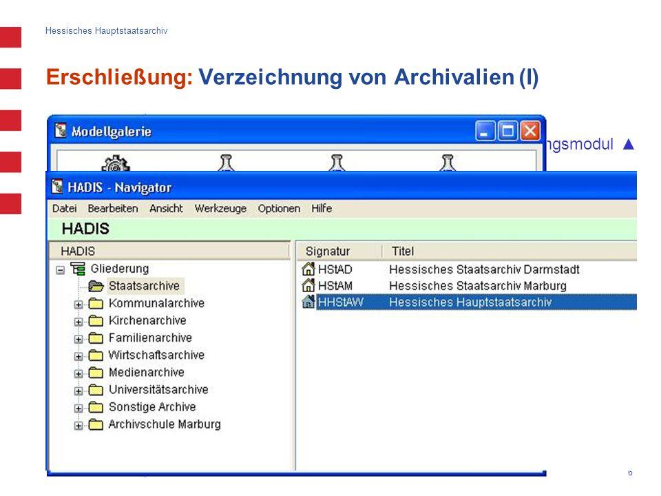 Erschließung: Verzeichnung von Archivalien (I)
