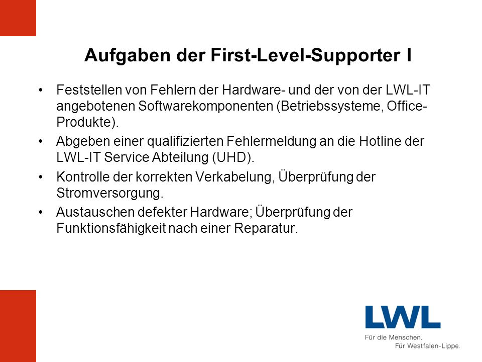 Aufgaben der First-Level-Supporter I