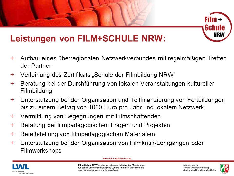 Leistungen von FILM+SCHULE NRW: