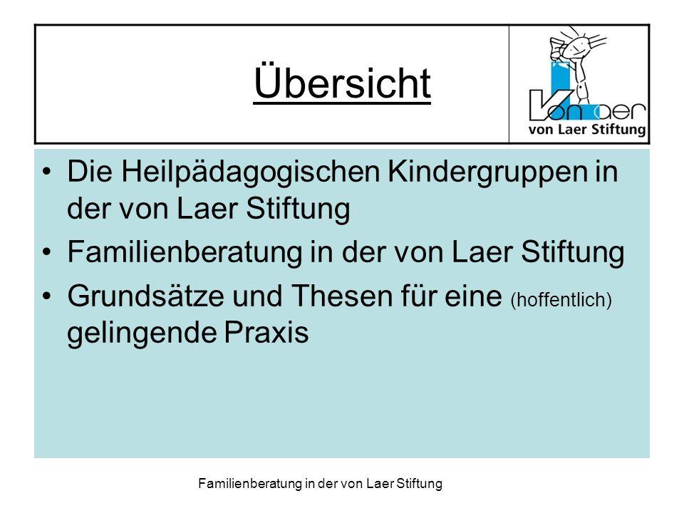 Übersicht Die Heilpädagogischen Kindergruppen in der von Laer Stiftung
