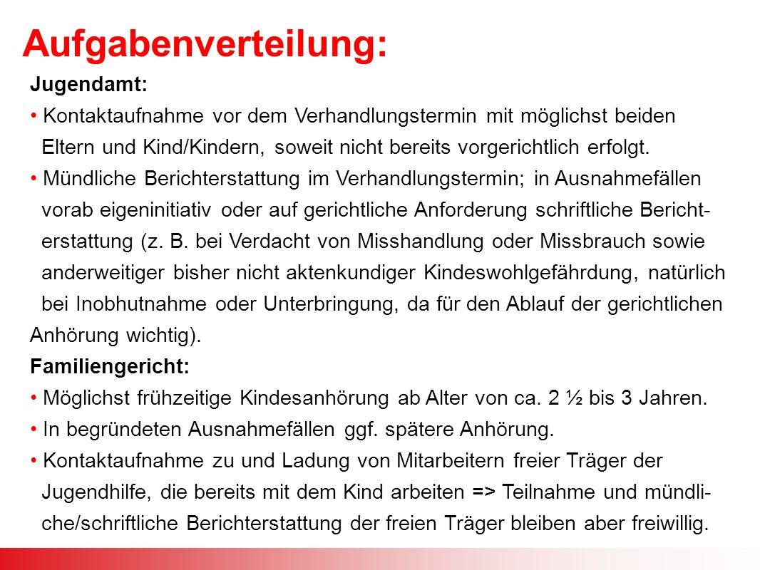 Aufgabenverteilung: Jugendamt: