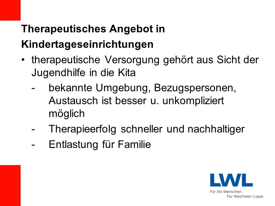 Therapeutisches Angebot in