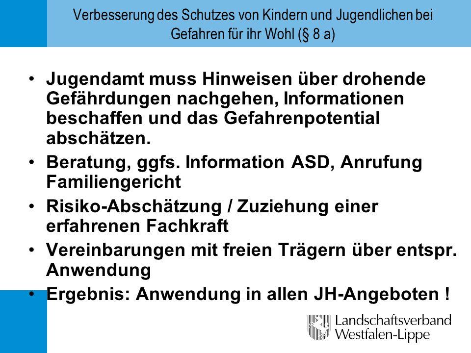 Beratung, ggfs. Information ASD, Anrufung Familiengericht