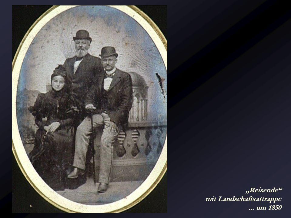 """""""Reisende mit Landschaftsattrappe ... um 1850"""