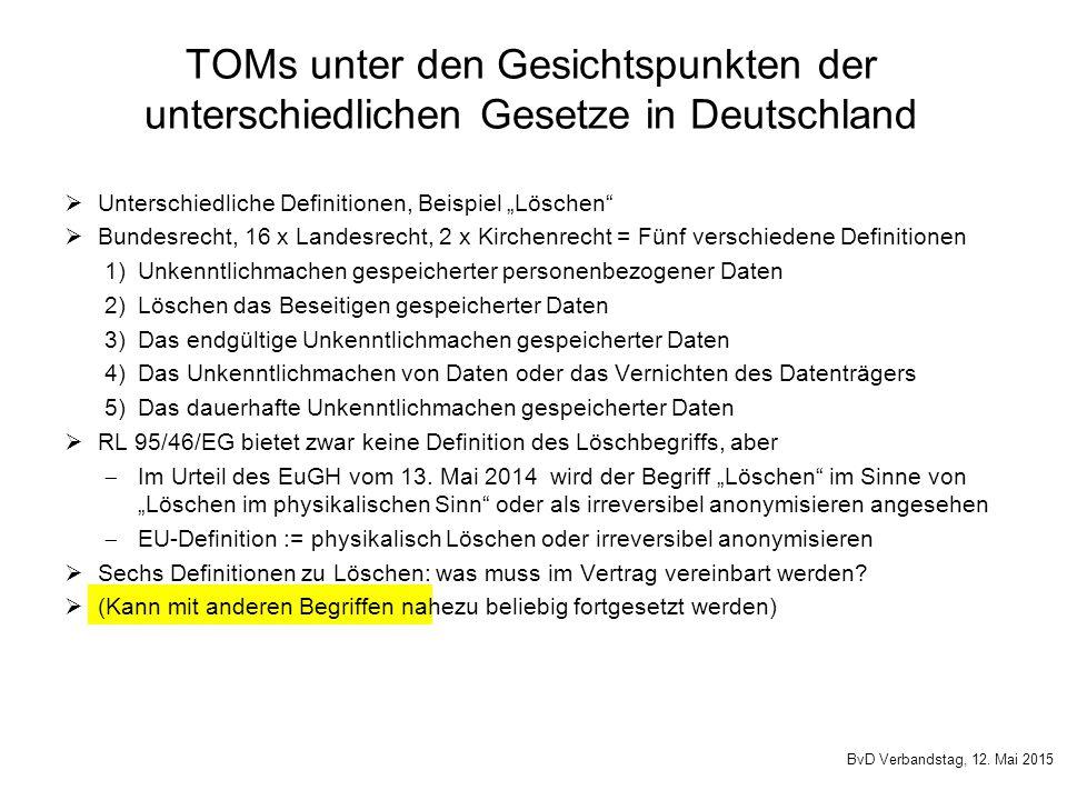 TOMs unter den Gesichtspunkten der unterschiedlichen Gesetze in Deutschland