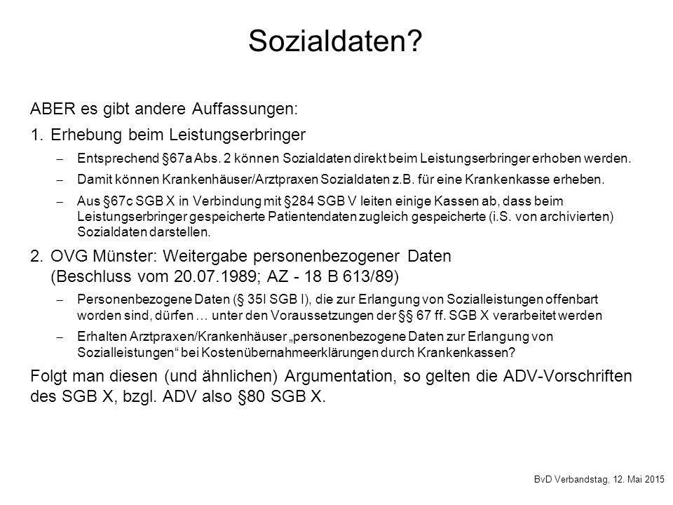 Sozialdaten ABER es gibt andere Auffassungen:
