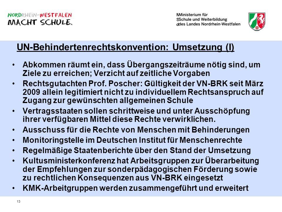 UN-Behindertenrechtskonvention: Umsetzung (I)