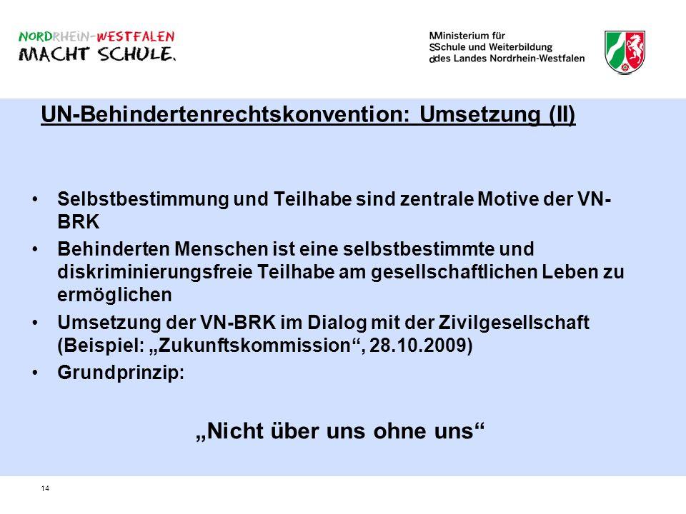 UN-Behindertenrechtskonvention: Umsetzung (II)