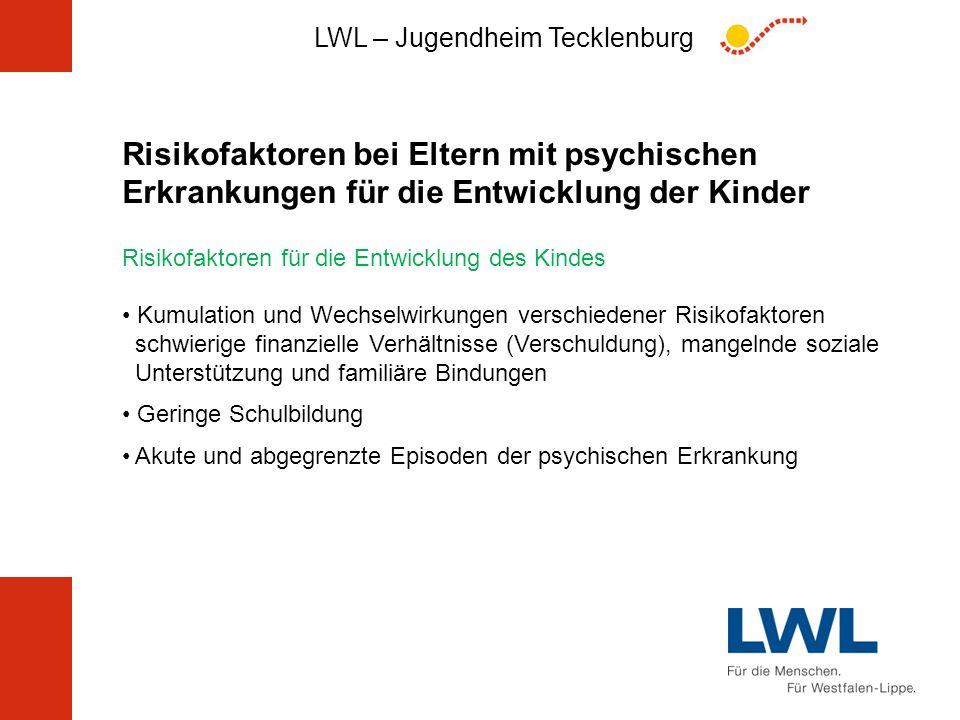 Risikofaktoren bei Eltern mit psychischen Erkrankungen für die Entwicklung der Kinder