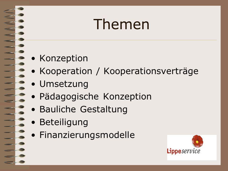 Themen Konzeption Kooperation / Kooperationsverträge Umsetzung