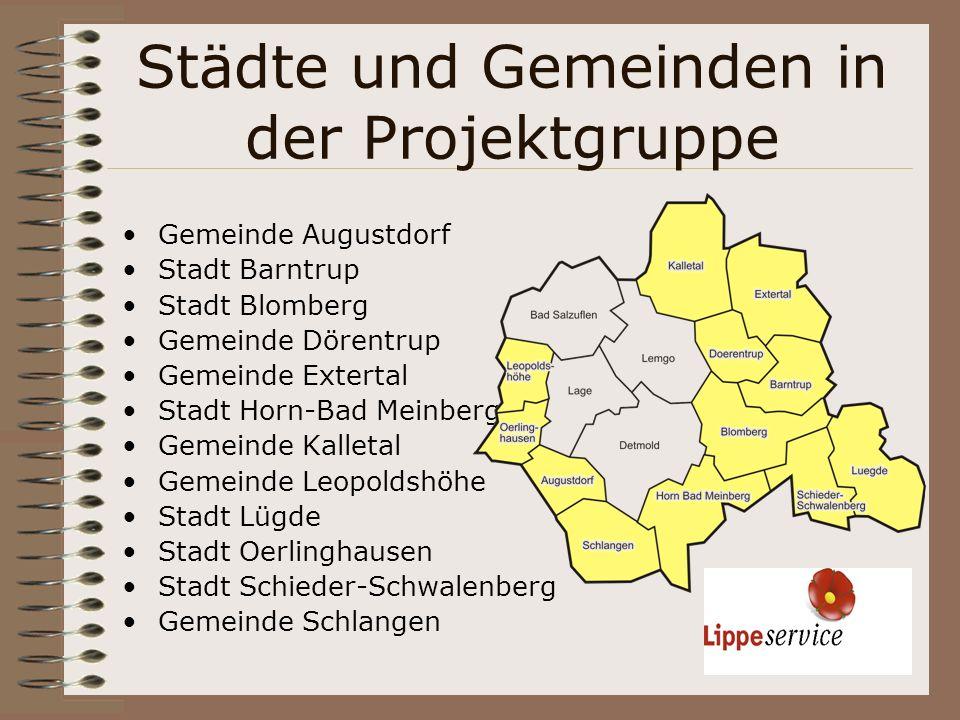 Städte und Gemeinden in der Projektgruppe