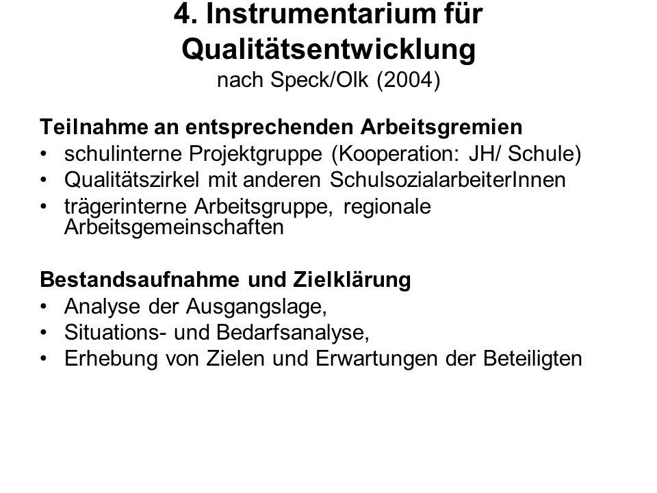 4. Instrumentarium für Qualitätsentwicklung nach Speck/Olk (2004)