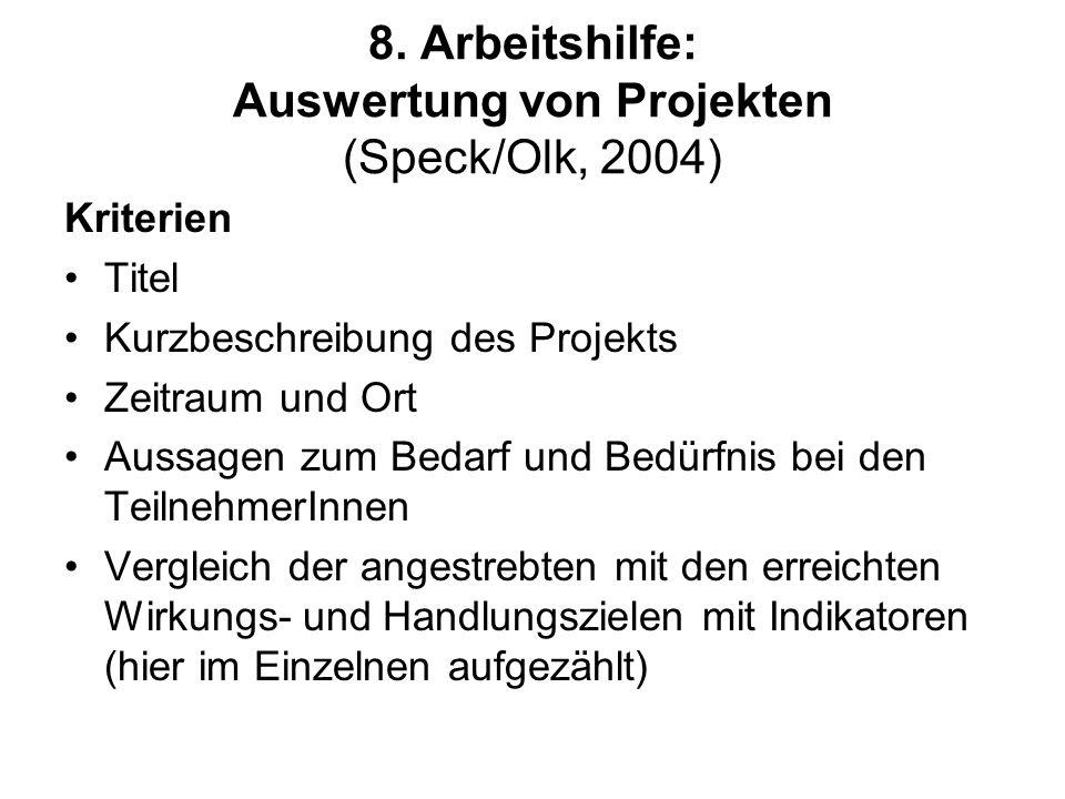 8. Arbeitshilfe: Auswertung von Projekten (Speck/Olk, 2004)