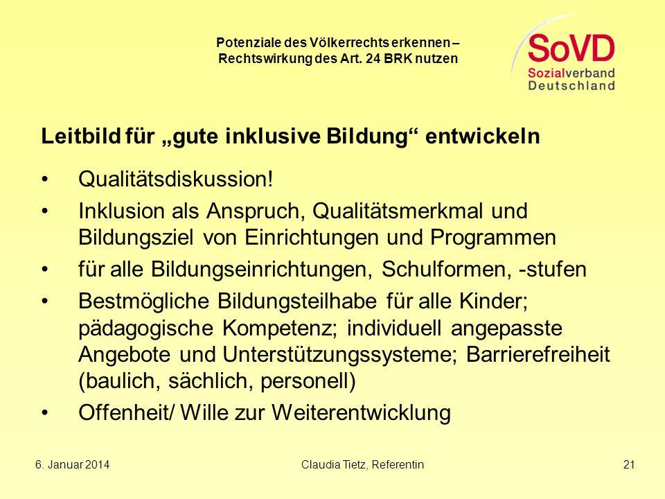 """Leitbild für """"gute inklusive Bildung entwickeln Qualitätsdiskussion!"""